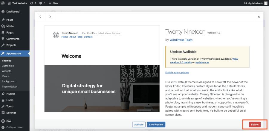 Deleting unused free themes in WordPress