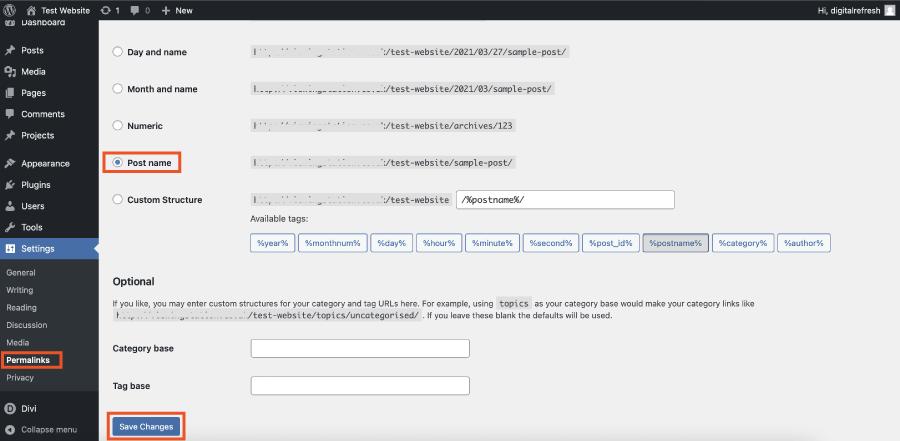 Setting permalinks in WordPress and Divi